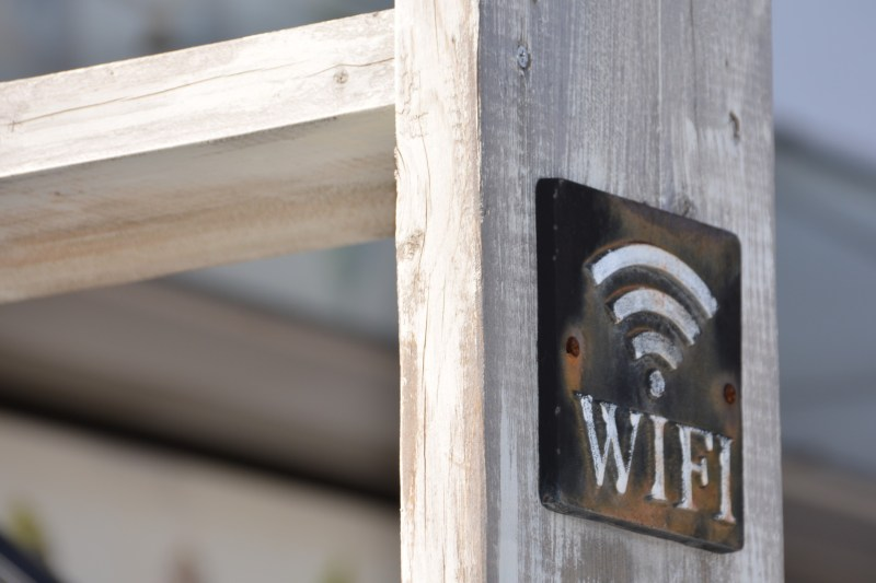 A wooden board with a rusted metal WiFi sign. Free WiFi can be hit or miss, especially in the evenings.