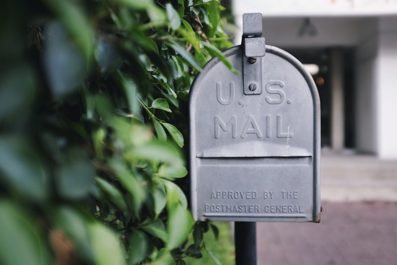 Close up image of US mailbox.