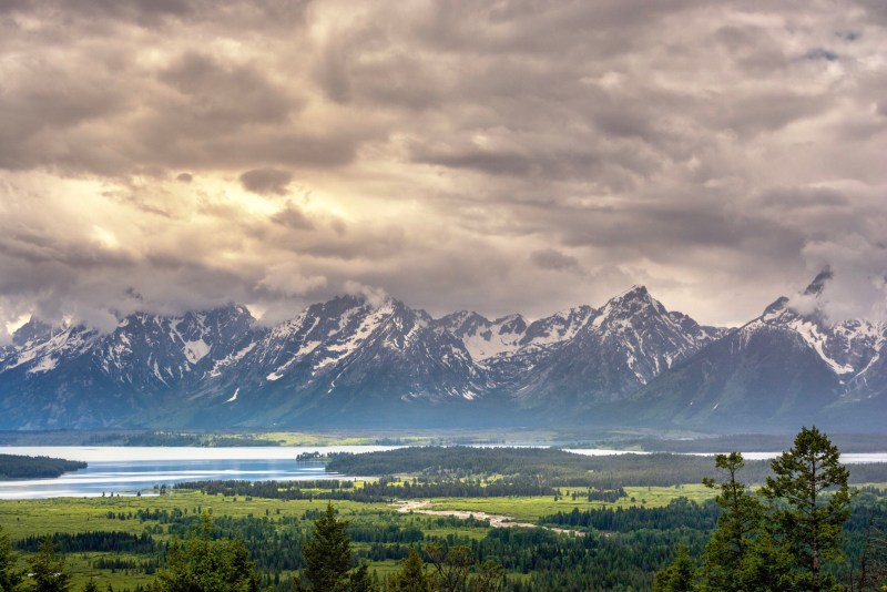 Scenic view of mountain ranges in Jackson Hole.