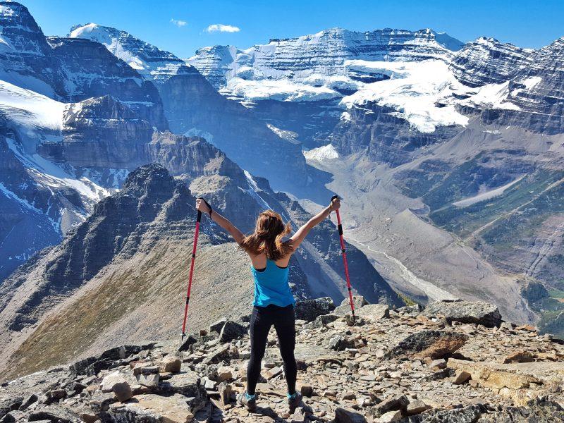 Woman hiking in Banff.