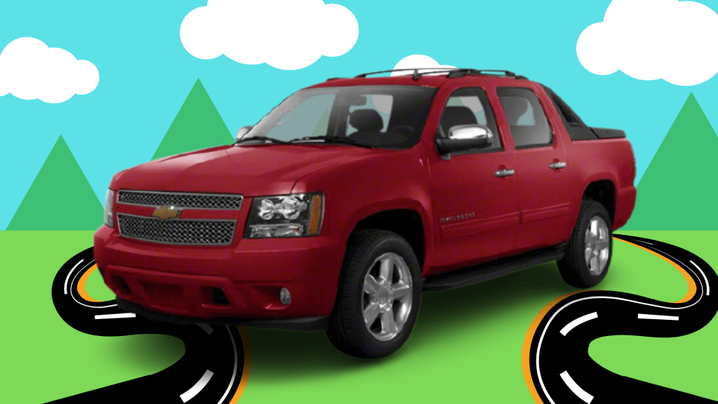 Product shot of a red Chevy Avalanche.