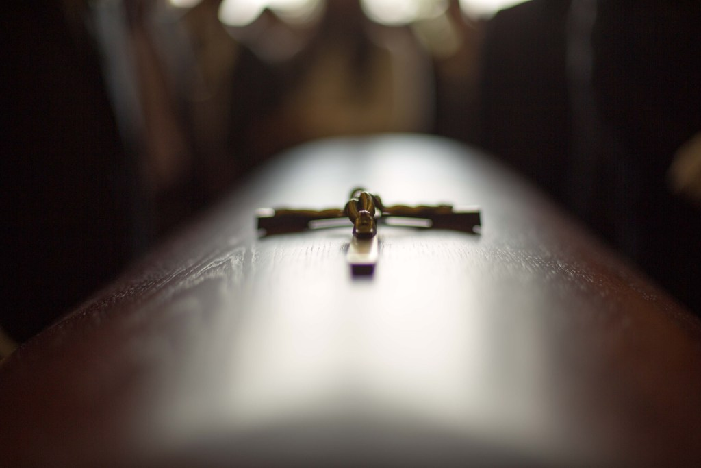 Close up of a coffin.