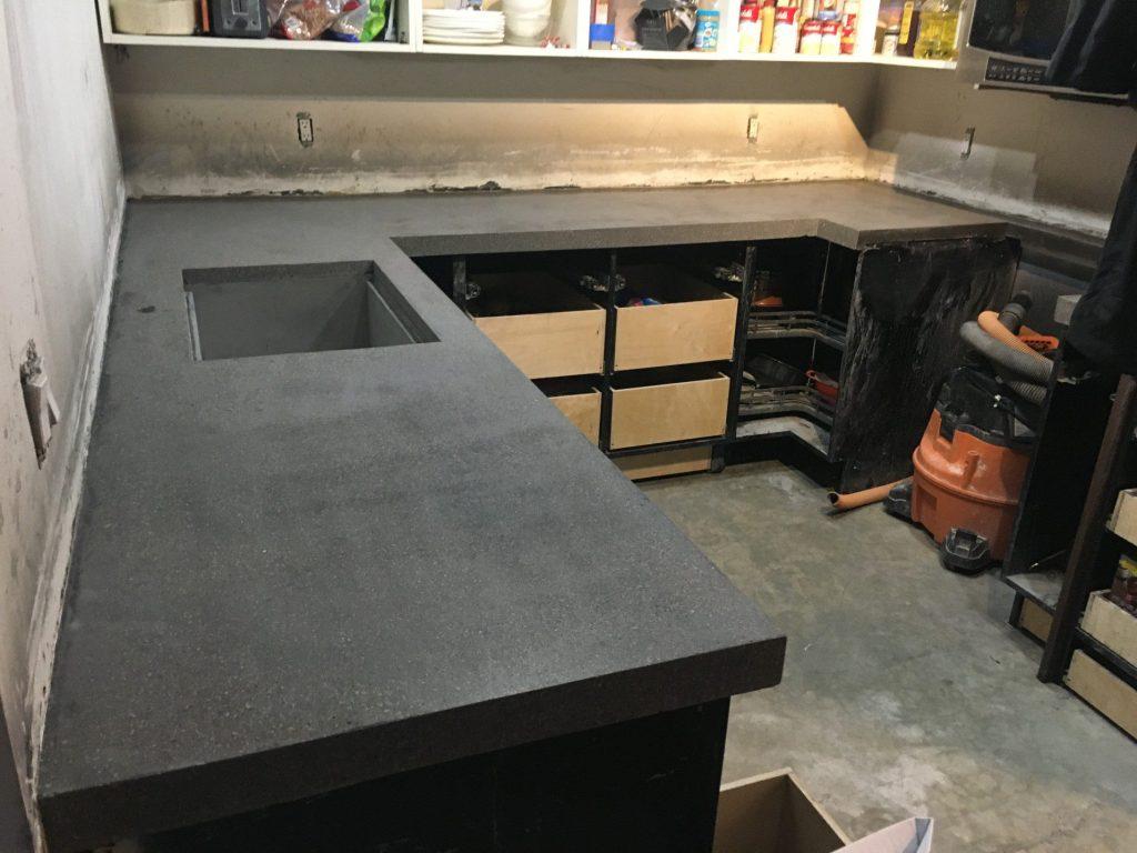 Concrete counter installation