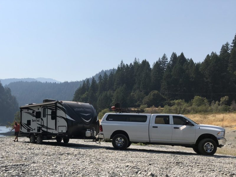Truck hitched to an RV