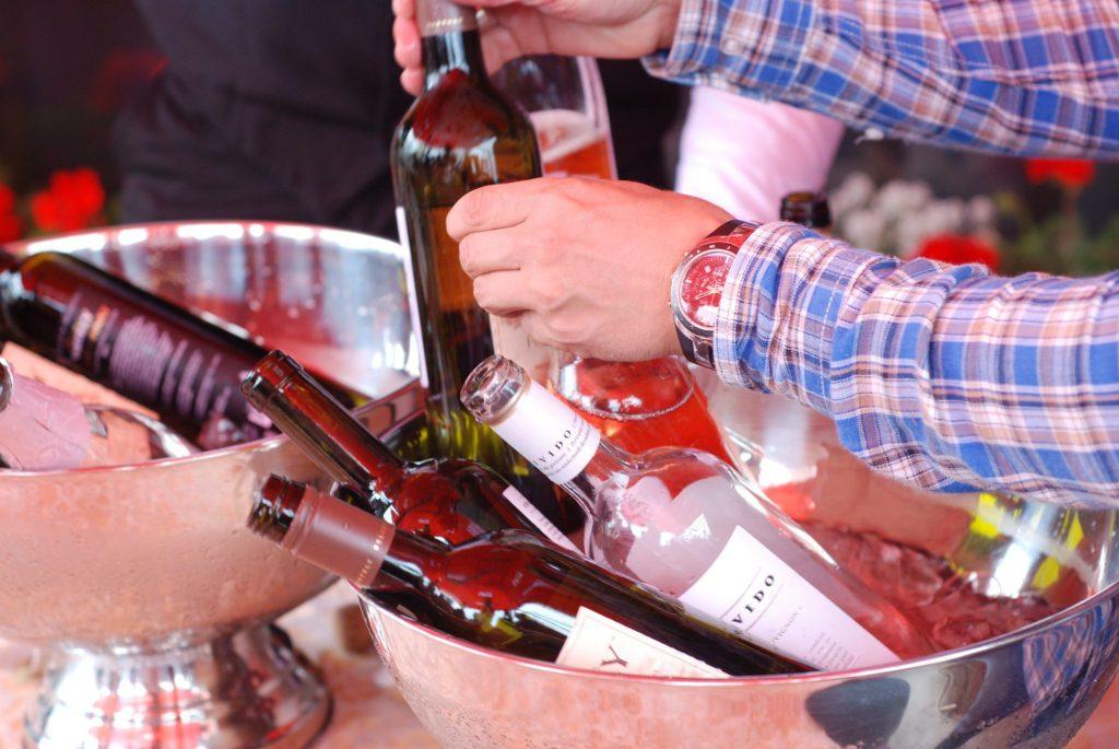 Wine tasting bottles in a bowl.