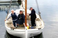 Afgang fra Bogø til drivkvasetræf på Fejø. Hanne Hollnagel, Tom Skriver og Christian Rosdahl. 2017. Foto: Svend Aage Christensen