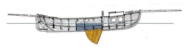 Dam og sværd set fra siden - fra Christian Nielsens opmåling - Vikingeskibsmuseet - Kopi