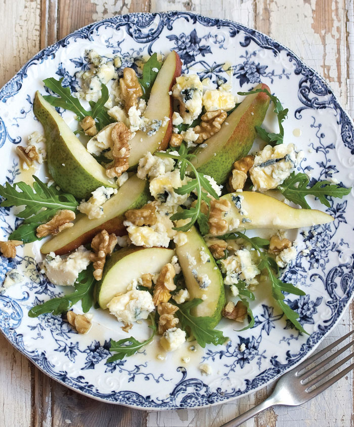 pear and blue cheese salad with a maple vinaigrette