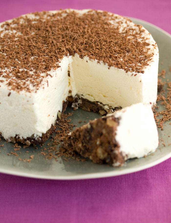 white chocolate and brownie frozen torte