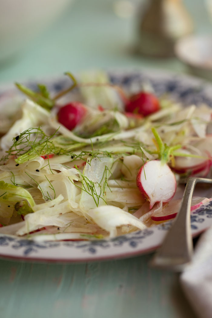 It consists of two ingredients, fennel and radish, and then a very simply salad dressing of lemon juice and olive oil.