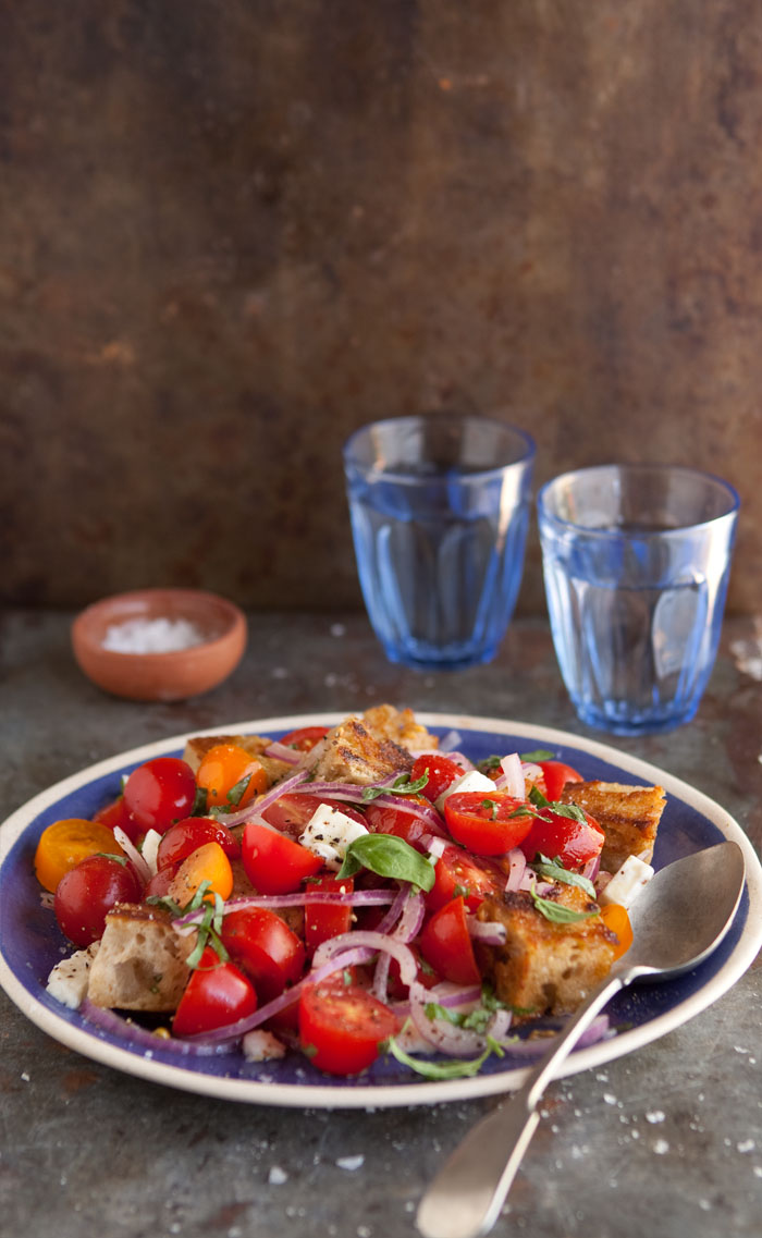panzanell and caprese salad