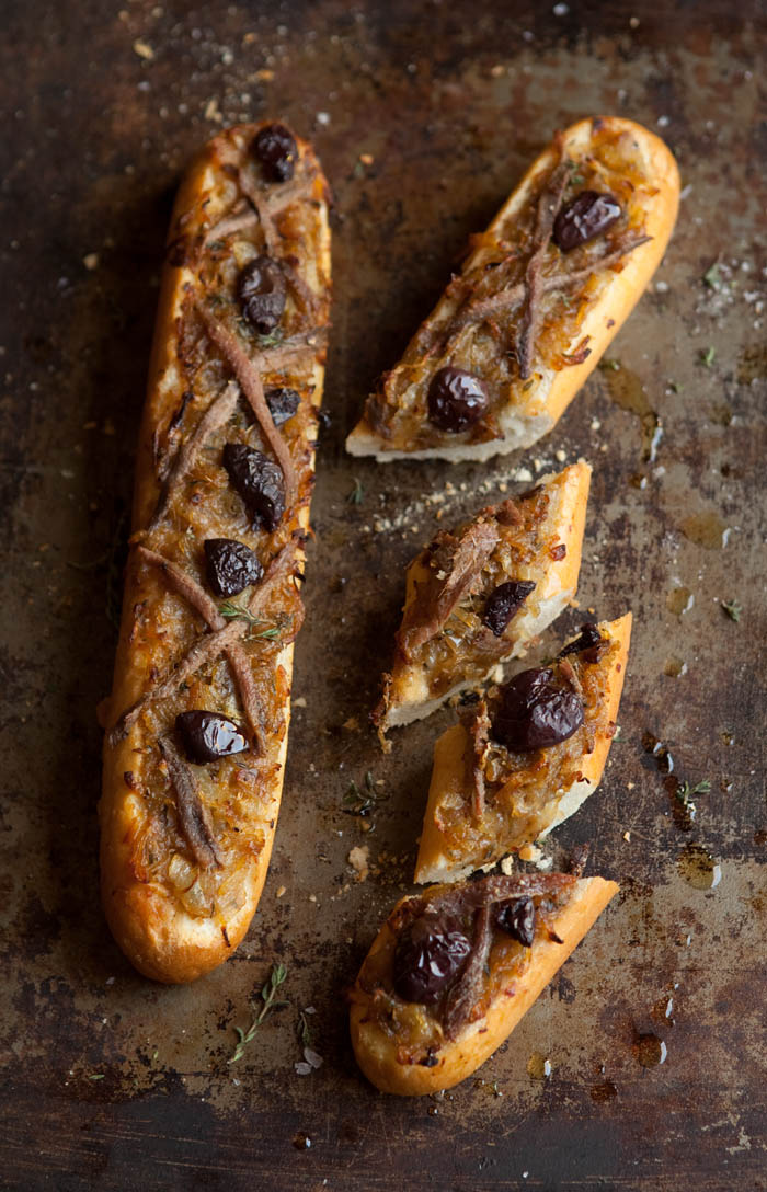 a cheats pissaladiere with baguette