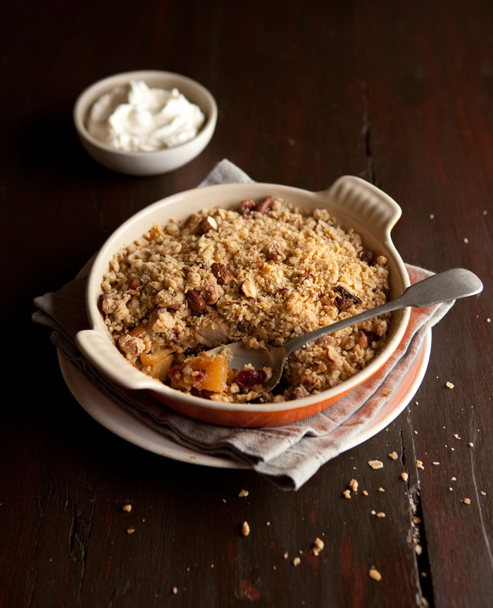oat and nut apple crumble with cranberry and orange