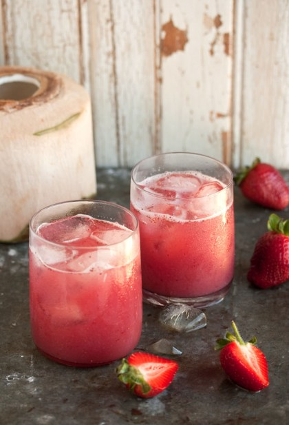 coconut water and strawberries cocktail
