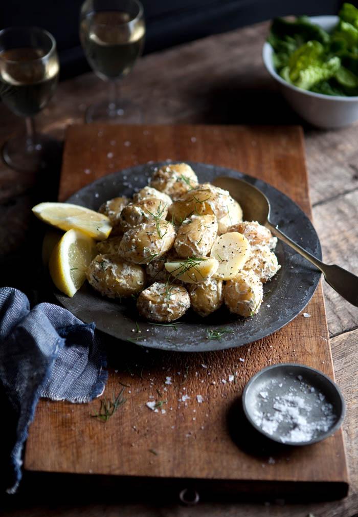 New potato salad with dill and lemon