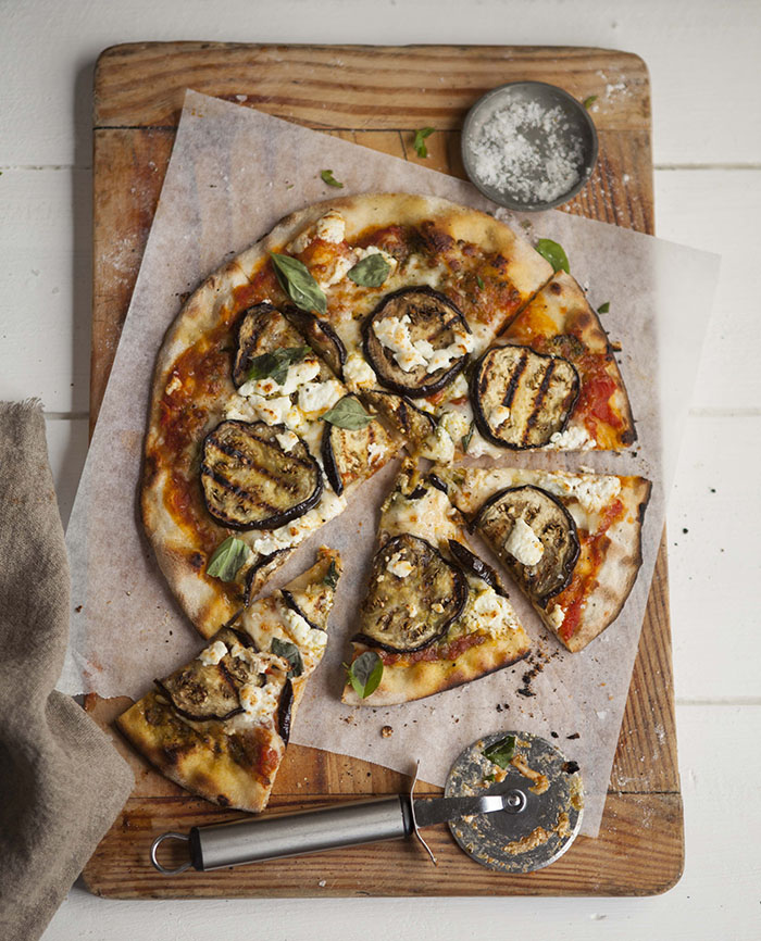 pizza with grilled aubergine, goats cheese and pesto