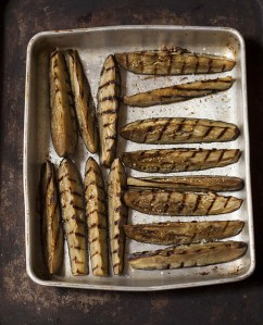 grilled and roasted eggplant wedges