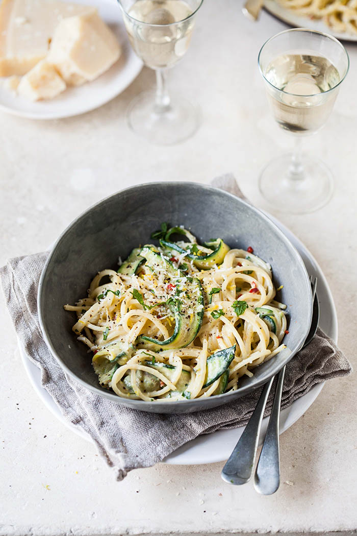 lemony zucchini carbonara with chilli