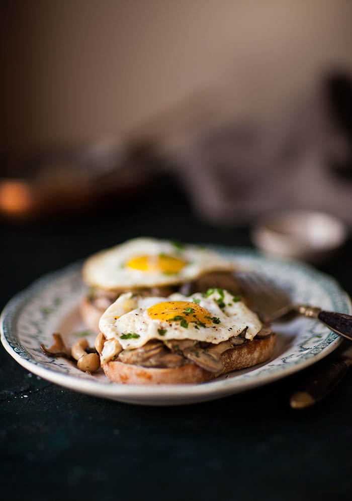 creamy miso mushrooms and eggs