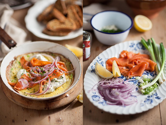 smoked salmon omelette with chive crème fraiche