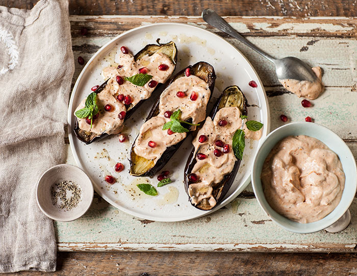 roasted aubergines with harissa and yoghurt