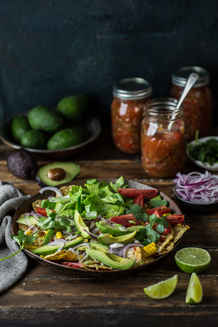 salad nachos with home preserved zesty salsa