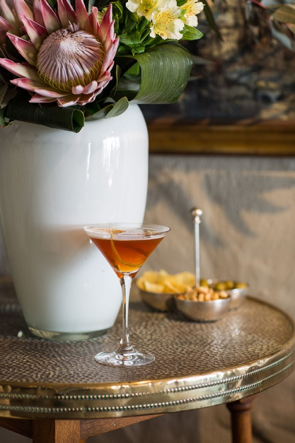 a ginger brandy and rooibos cocktail