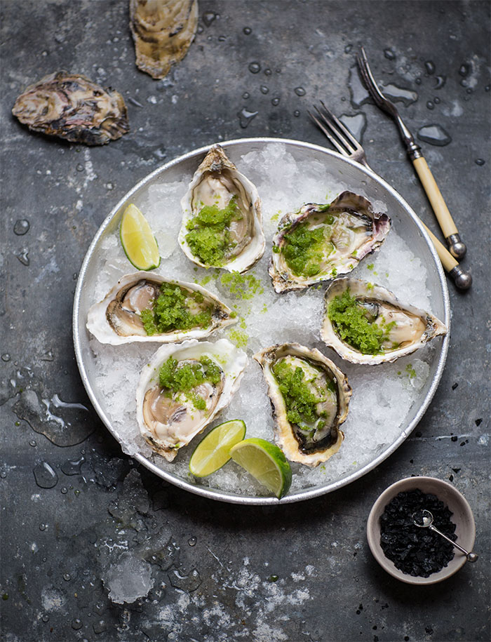 oysters with spicy cucumber & lime granita