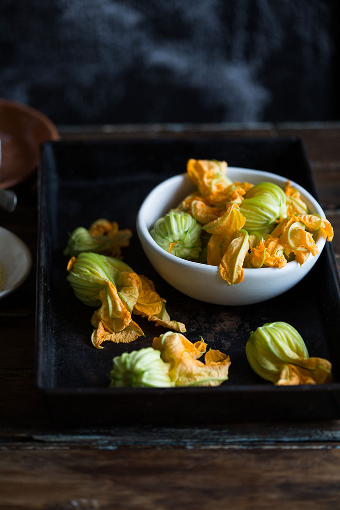 Jamie Olivers crispy zucchini flowers stuffed with spicy ricotta and mint