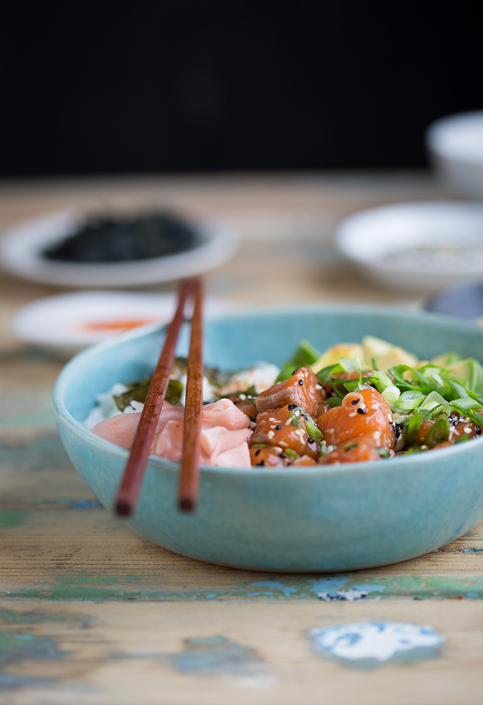Easy salmon poke that tastes like sushi in a bowl