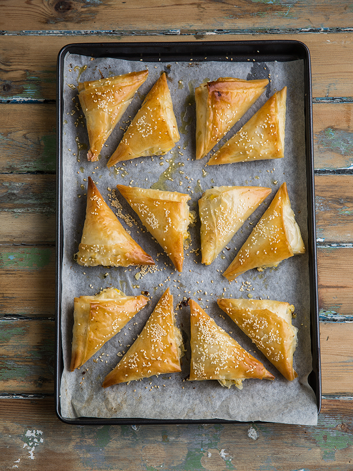 Corn & cheese phyllo pies striaght from the oven