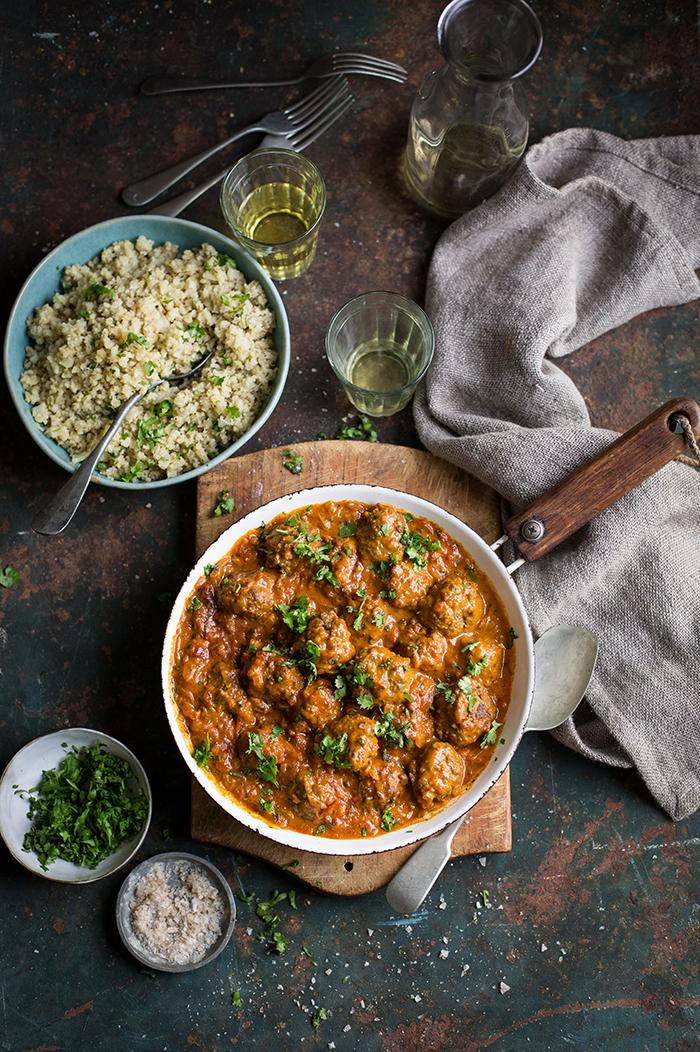 goan meatball curry with cauliflower rice