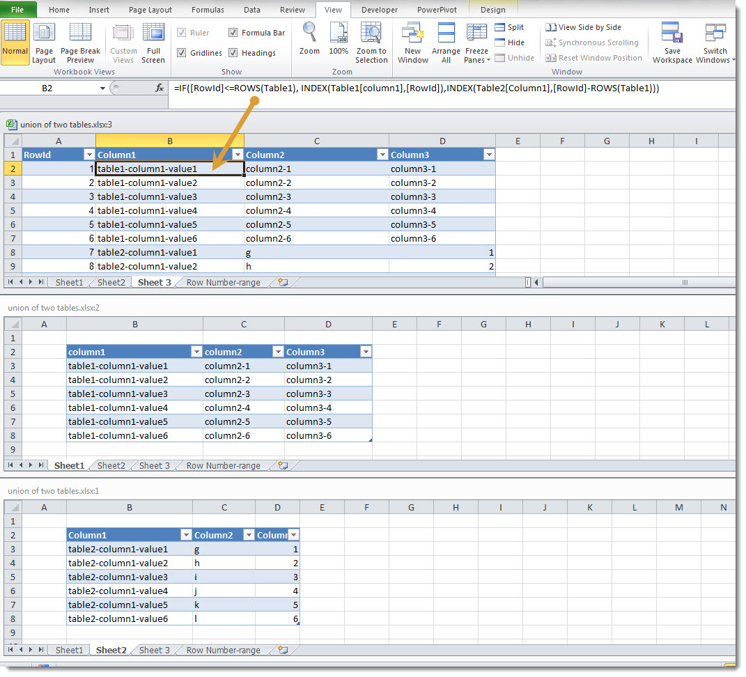 Create The Union Of Two Tables In Excel