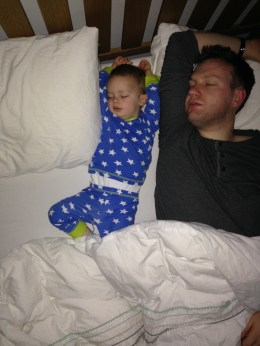 Having a lie in with Daddy