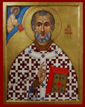 Orthodox Icon of Anglo-German Saint, Willibrord of Echternach Apostle of the Frisians 300x375px