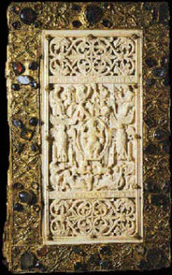 A piece of the ivory cover of the Evangelium longum, engraved around 890.
