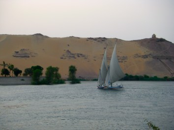Aswan Two Feluccas on River