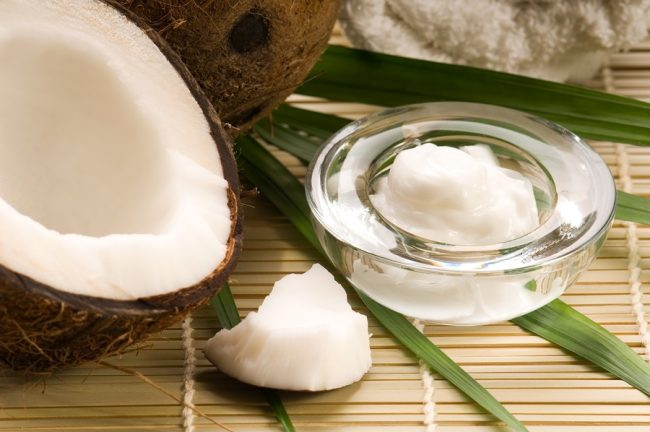 Coconut fruint and oil. spa, alternative medicine