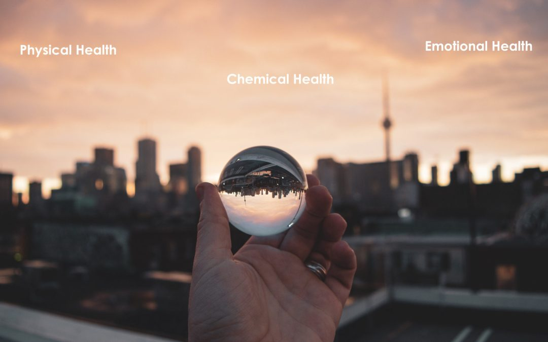 City view with physical, emotional chemical health