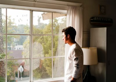 Person looking at window