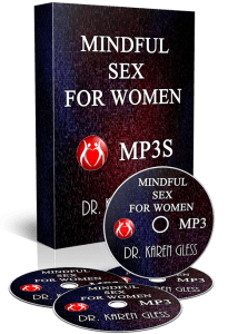 A picture of the box set and CDs of Dr. Karen Gless course Mindful Sex for women