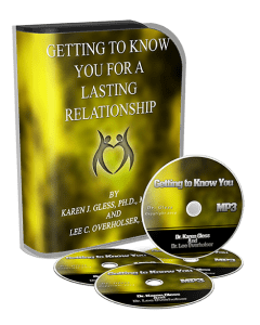 A picture of the box set and CDs of Dr. Karen Gless course: Getting to Know You for a Lasting Relationship