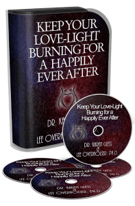 A picture of the box set and CDs of Dr. Karen Gless Keep your Love-Light Burning for a Happily Ever After Course