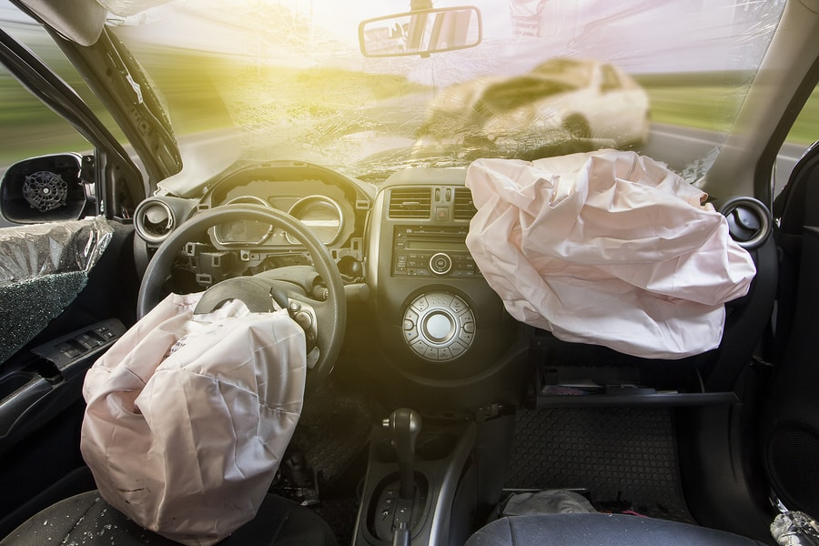 Car-accident,-airbag-explosion