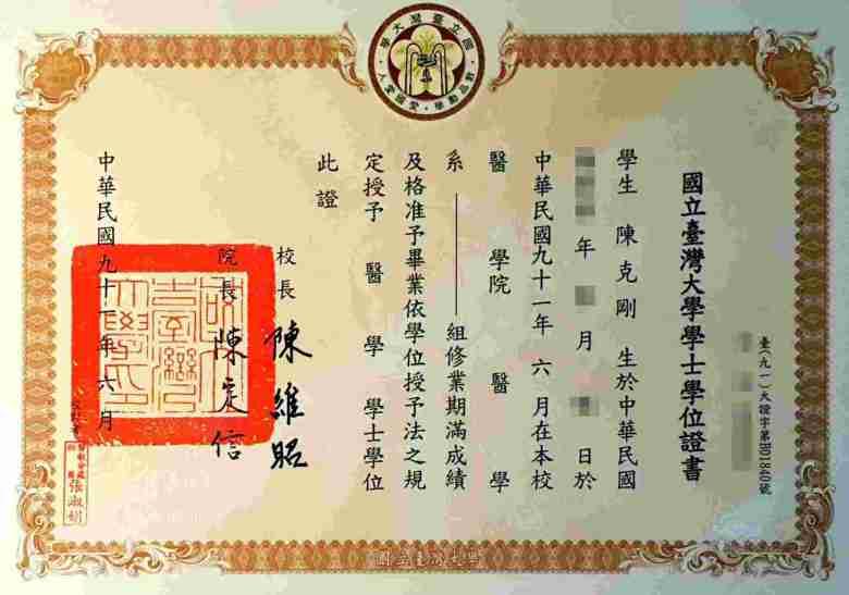 台大畢業證書