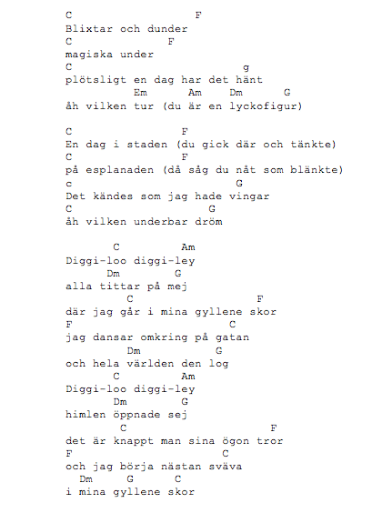 chords diggi-loo diggi-ley, akkorder til diggiloo diggiley