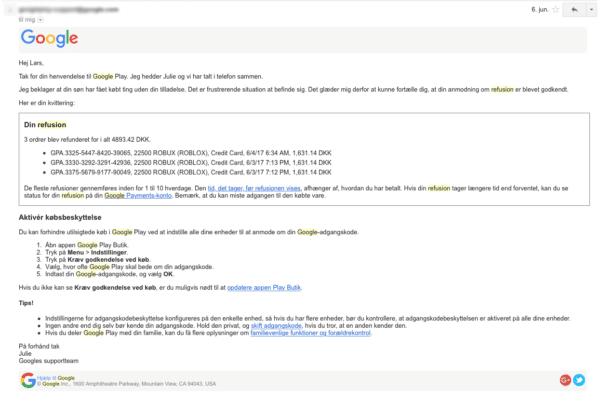 google mail refusion forkert køb