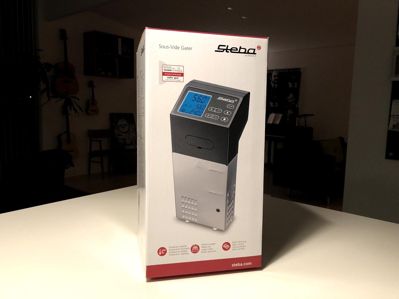 Indpakningen af Steba SV100 Professional SV 100 test af anmeldelse erfaring med godt købt støjniveau er den god? sous vide stav stick immersion cooker