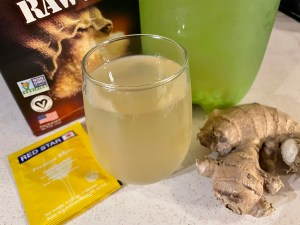 Ginger Ale Glass and Ingredients