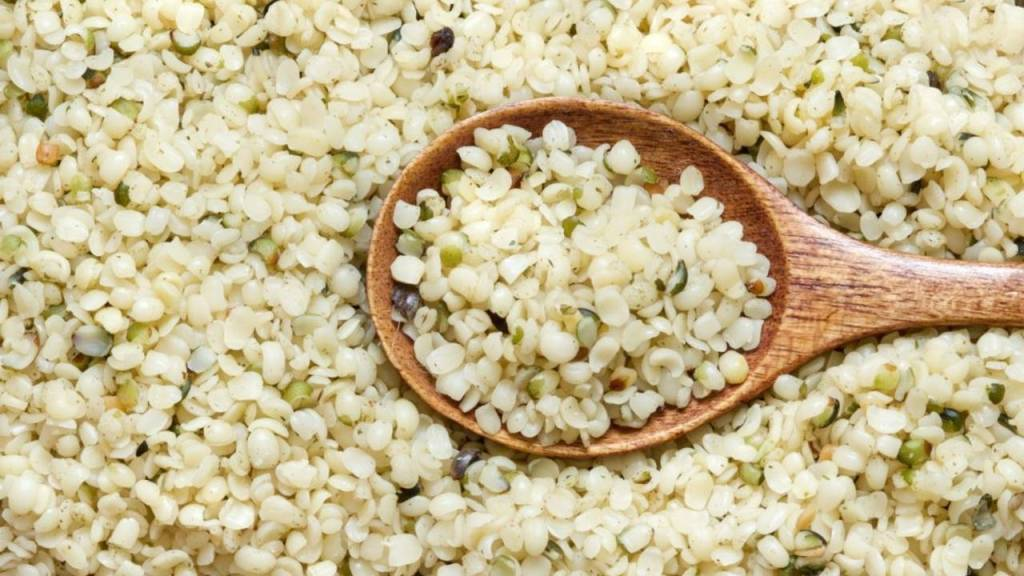 Hemp seeds close up with a spoon